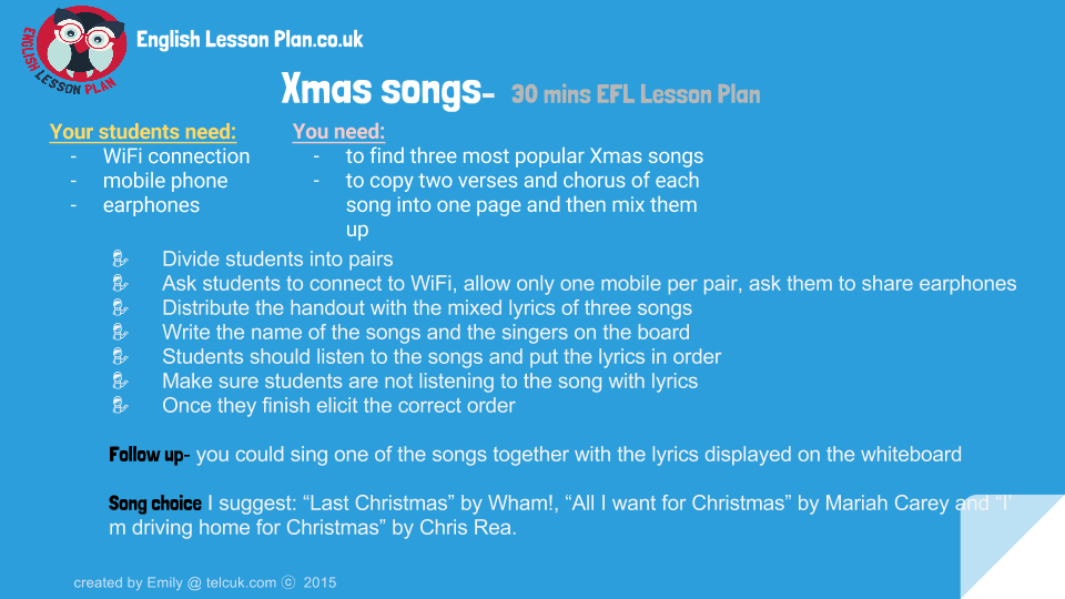 Xmas songs-   30 mins EFL Lesson Plan (1)